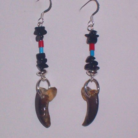 Alaskan Wolf Claw and Gemstone Earrings