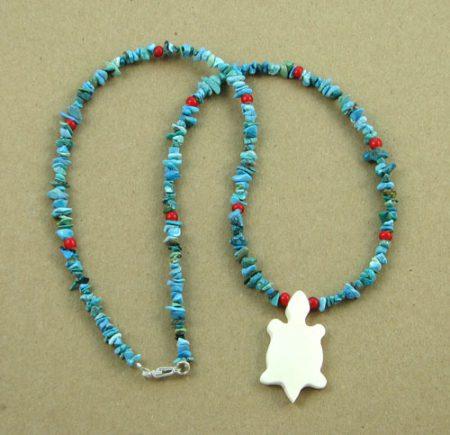 Bone Animal Cutout & Gemstone Chips Necklace 107