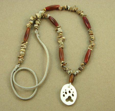 Bone Animal Cutout & Gemstone Chips Necklace 110