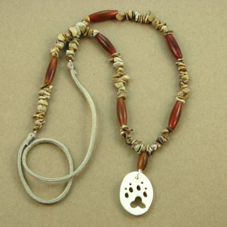 Bone Animal Cutout & Gemstone Chips Necklace 110