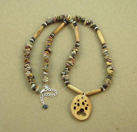 Bone Animal Cutout & Gemstone Chips Necklace 111