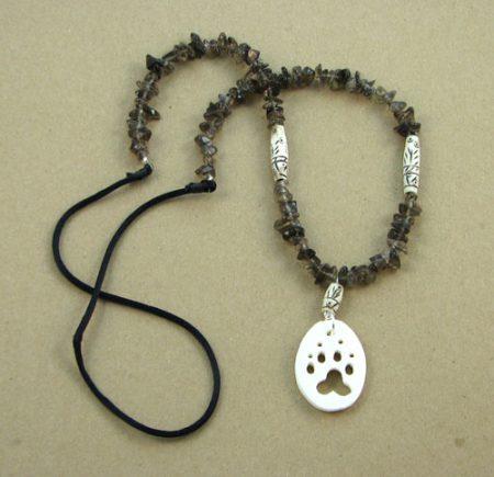 Bone Animal Cutout & Gemstone Chips Necklace 112