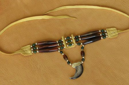 Three Strand Amber Horn & Bear Claw Choker