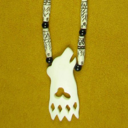 Bone Animal Cutout with Carved Bone Hair Pipes & Onyx Gemstone Beads Necklace 128