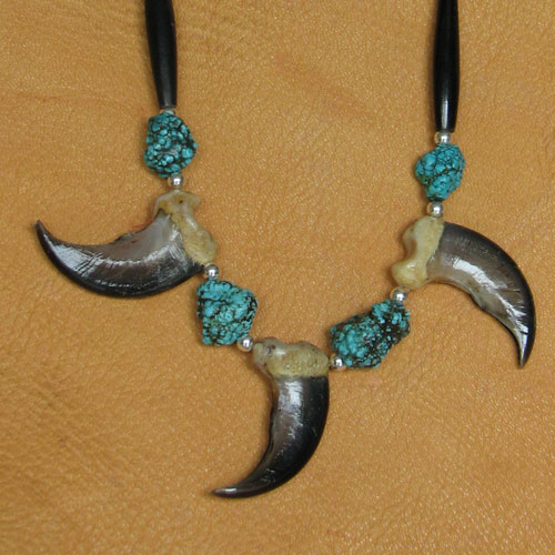 Three Bear Claw Necklace with Turquoise Nuggets