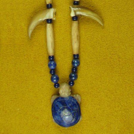 Turtle Claw & Gemstone Turtle with Gemstone Beads Necklace #103