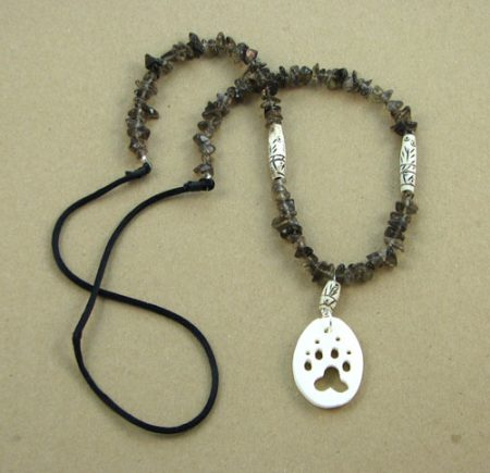 Bone Animal Cutout & Gemstone Chips Necklace 112