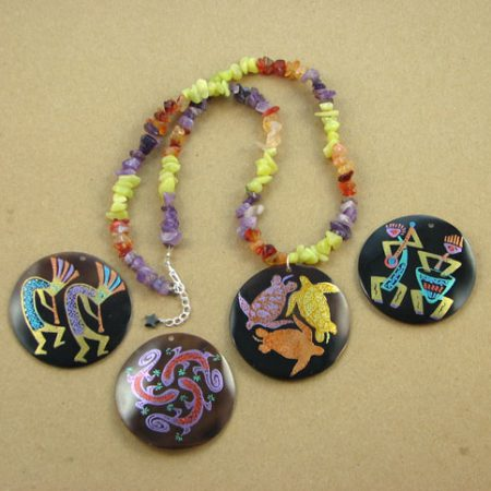 Shell Focal and Gemstone Chips Necklace