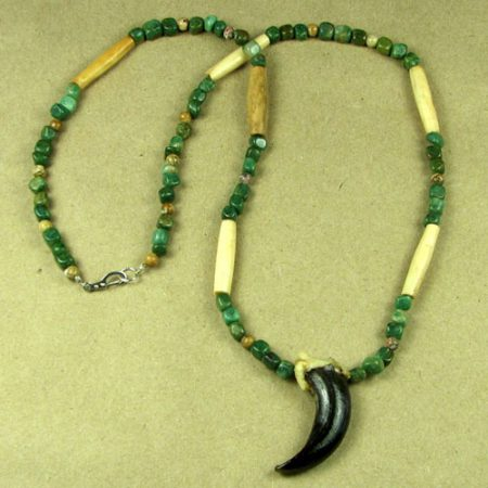 Alaskan Wolf Claw and African Jade Nuggets Necklace