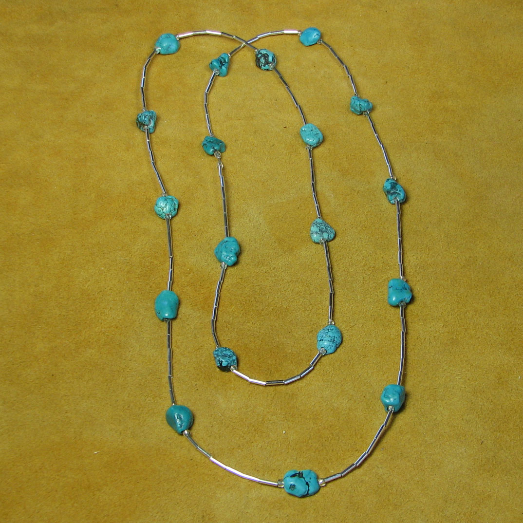 Turquoise nuggets sterling silver tube beads necklace