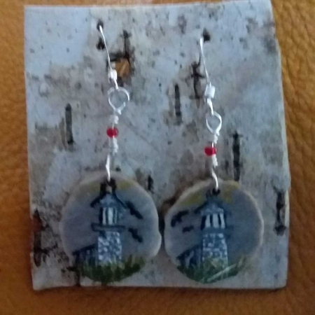 Deer Antler Disc Earrings - Lighthouse