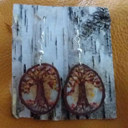 Deer Antler Disc Earrings - Autumn Tree Of Life