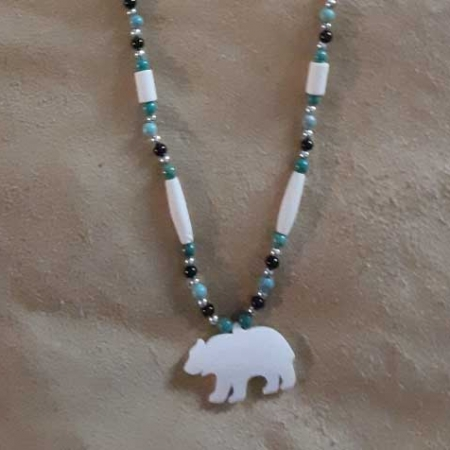 Bone Bear Cutout Necklace