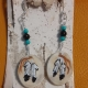 Deer Antler Earrings - Two Feathers with Turquoise Beads
